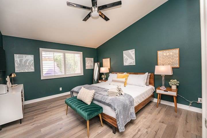 Super comfortable King sized bed in our master bedroom- a great nights sleep awaits!