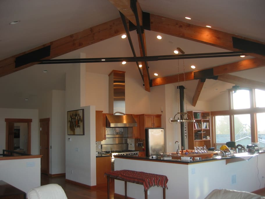 25' ceilings on the upper floor have a ski lodge look and feel.
