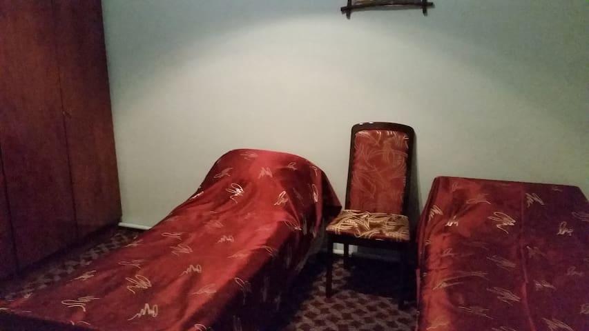 Отдельная спальная комната с двумя разделенными кроватями.
