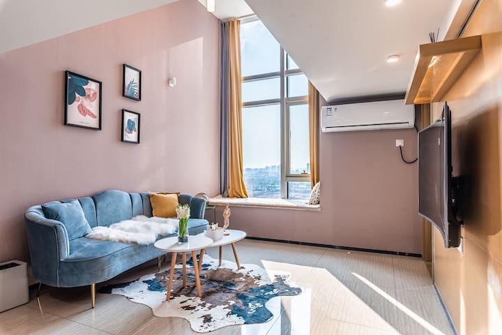 宁波复式Loft公寓低调蓝/文化广场/国际会展中心/市政府/大剧院