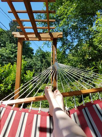 Relax in our double hammock out in the yard when you are ready to slow down