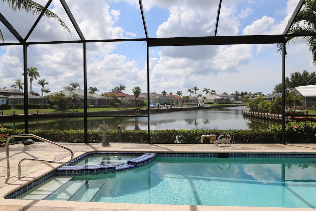 Views from the living area.  Heated pool and hot tub.