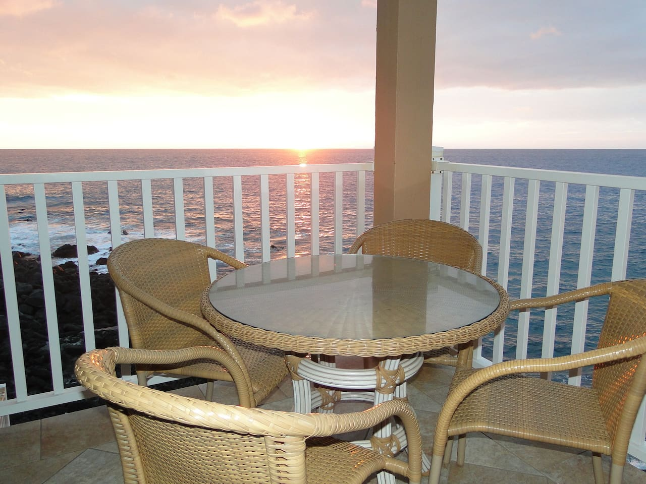 Sunset on your private oceanfront lanai