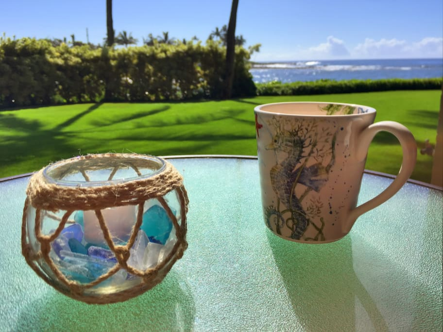 Morning coffee with an ocean view.