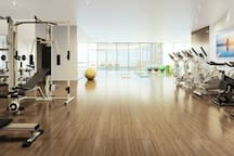 P4 level. Large exercise weight room, yoga room, pool & hot tub.