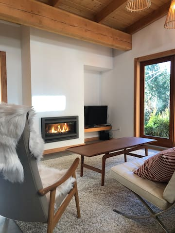 Gas fireplace, Tv with cable and Netflix,  mid century modern furnishings
