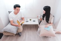 """Sip your morning tea or coffee together at the multi-function tatami area / """"lesehan"""" corner"""