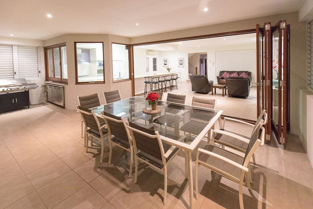 Dining table, living room, kitchen and BBQ