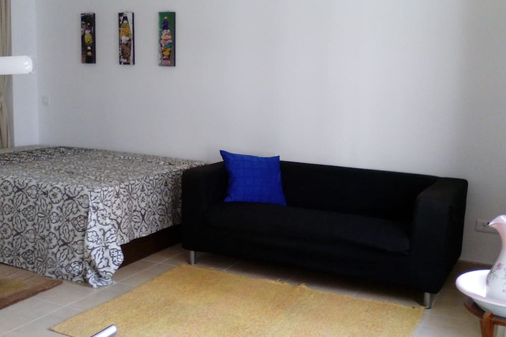 second bed in living area (with curtain to separate)