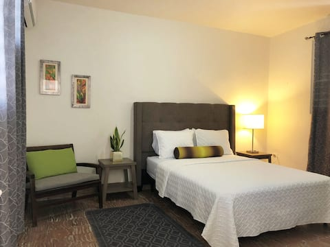 Spacious room, Queen bed, AC, closet.
