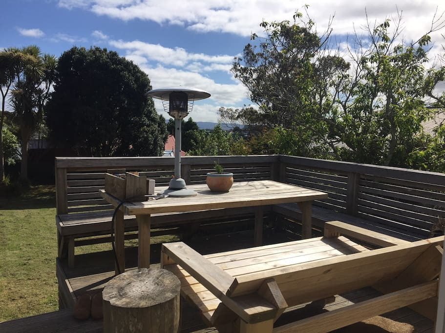 Large back deck with bbq
