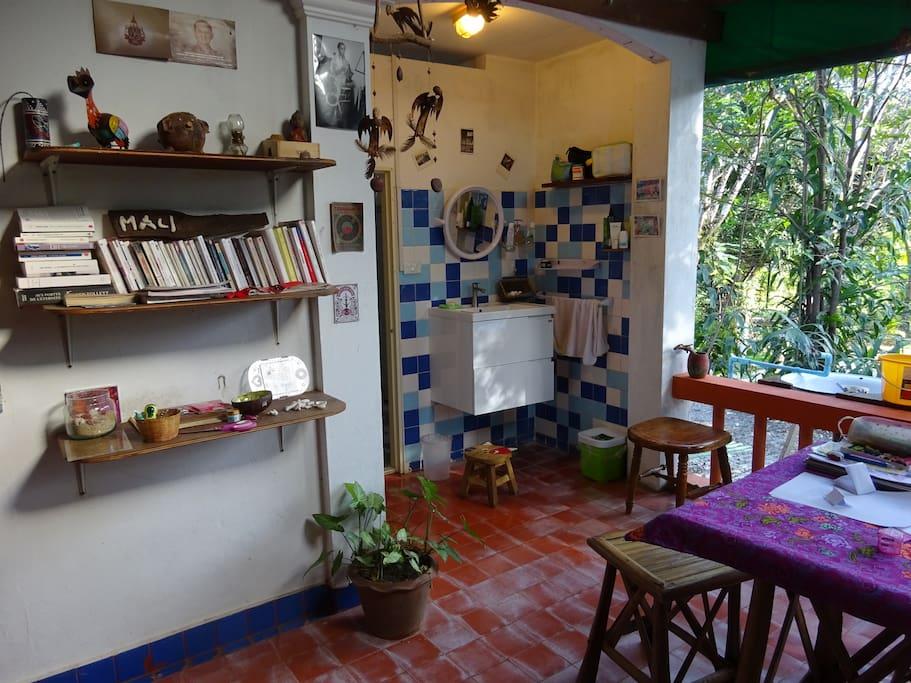 open living room on garden