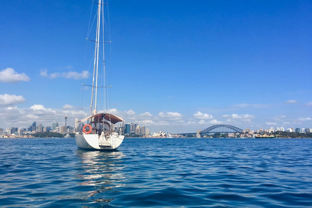 The city, the Opera House and Sydney Harbour Bridge - the perfect view from the anchorage near Taronga Zoo.