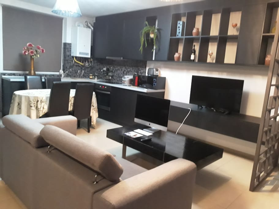 The living room and dining kitchen