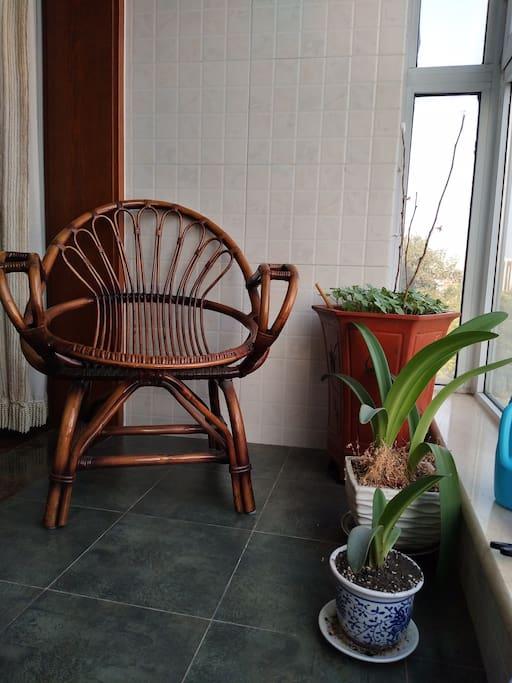 一个竹藤椅,逛累了可以坐在阳台晒晒太阳,观察老北京人的生活