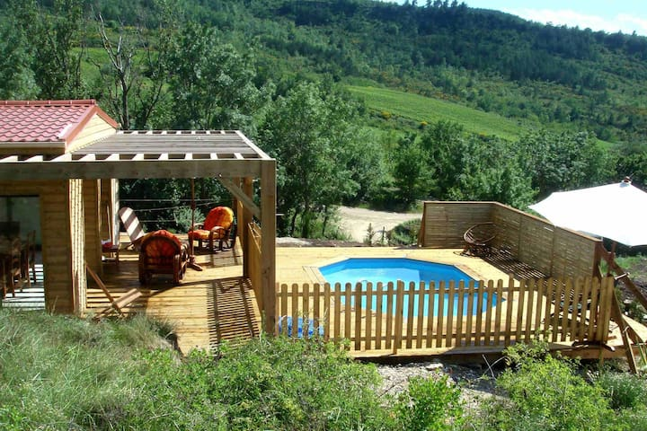 Modern lodge with private swimming pool on hill vineyard in Southern France