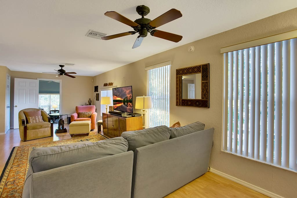 Ceiling fans help keep the main living area cool and comfortable.