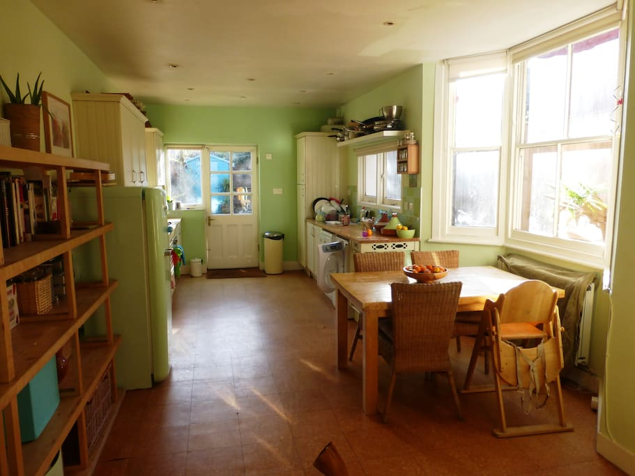 large kitchen, leads onto garden