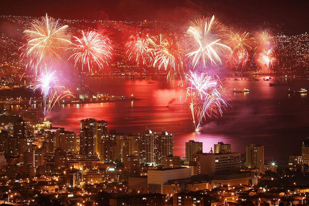 This is how the New Year´s welcome with fireworks looks from the terrace
