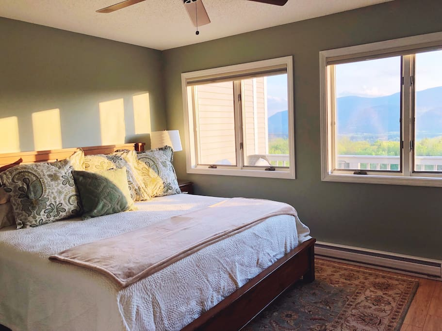 Master bedroom with king size beds, plenty of LLBean sleeping pillows, Garnet Hill and Pottery Barn bedding.  Oh, and mountain views while you lay in bed!