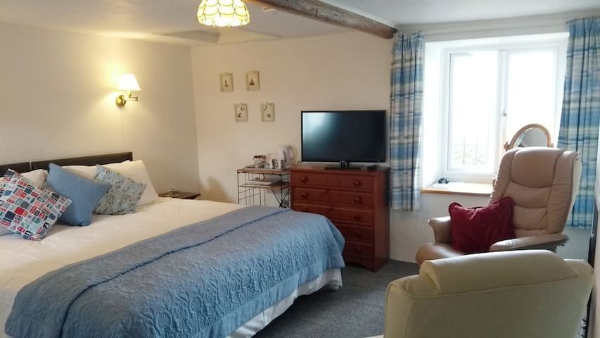This room has a King size double bed, a lounge area when only the king or two single beds are in the room, a flat screen TV, and tea and coffee making facilities. An additional luxury single bed can be added for a third guest.