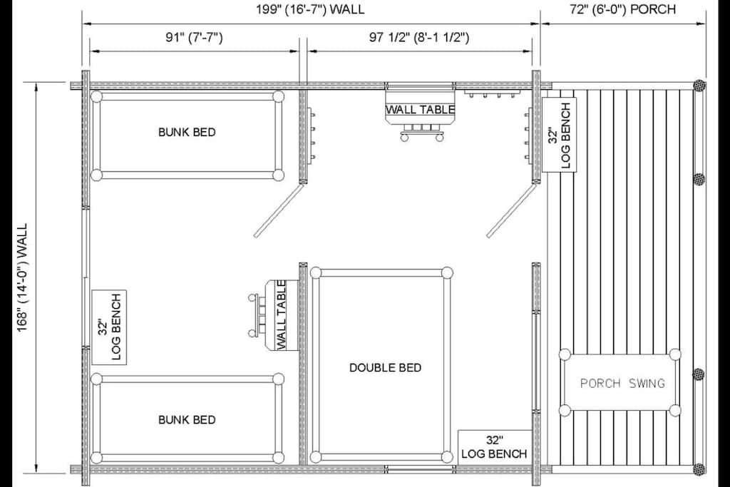 This is the floor plan of the two room cabin.