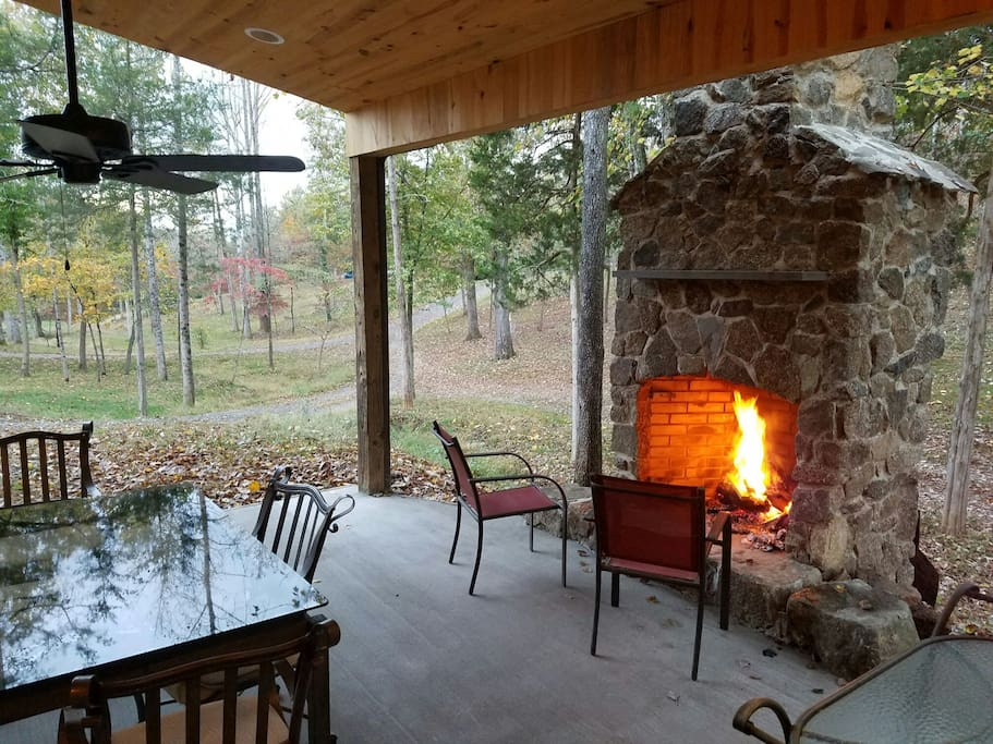Outdoor fireplace at the Zen Barn.