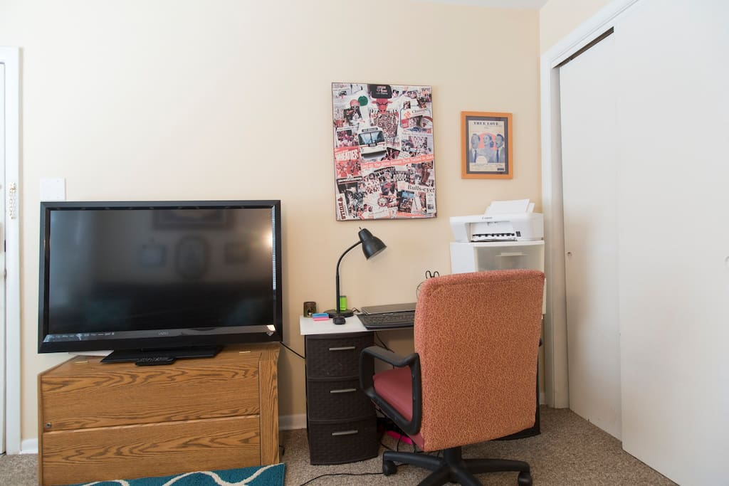 The smart television is available for the guests to use.  The desk is another place to study or read outside of your room.