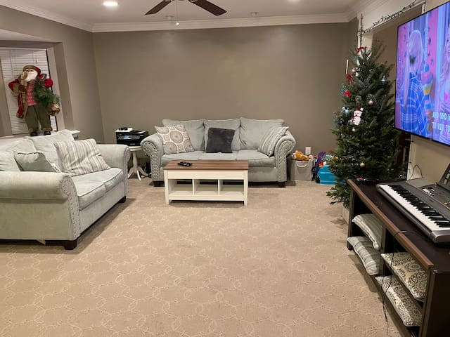 Living room area with a Queen Air Mattress