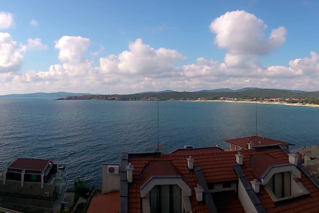 Panoramic view of Kavacite bay and Agalina headland