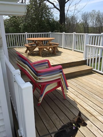 Spacious deck off west side of house.