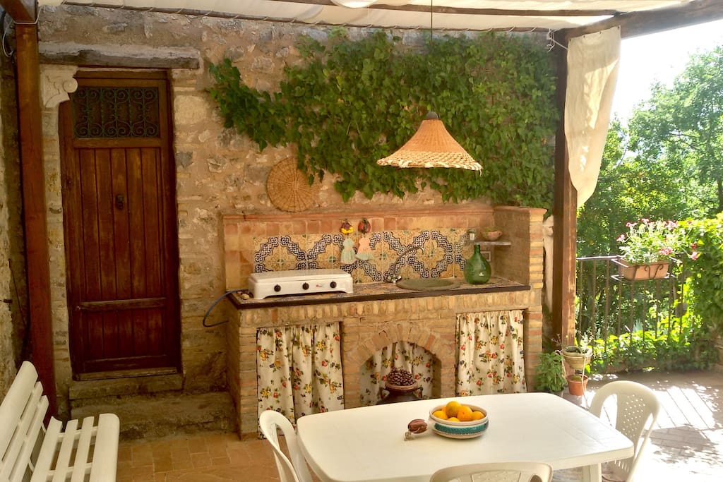 The open air kitchen.