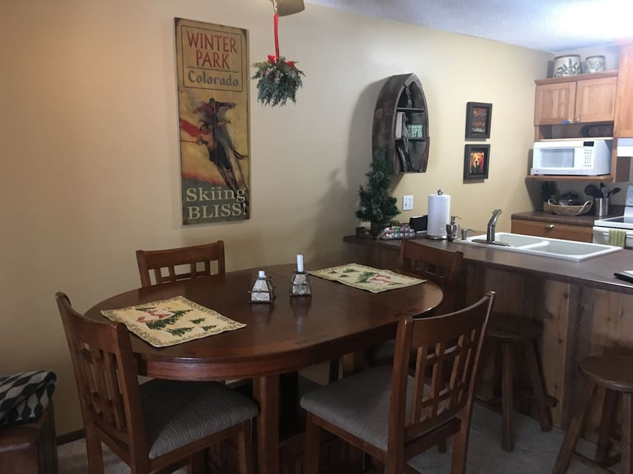 Dining room table will seat six, plenty of dishes for family meals and all of the amenities in the kitchen