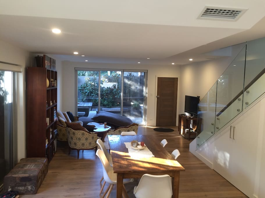Large light and airy living and dining area open plan