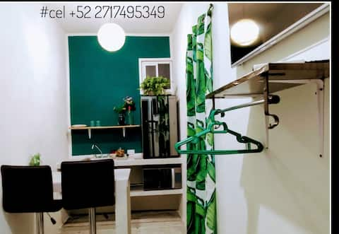 C. Green studio Cancun downtown, A/C, market 28