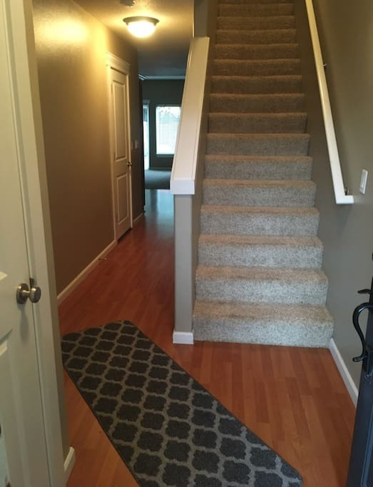 Stairwell and hall that leads to living room/kitchen