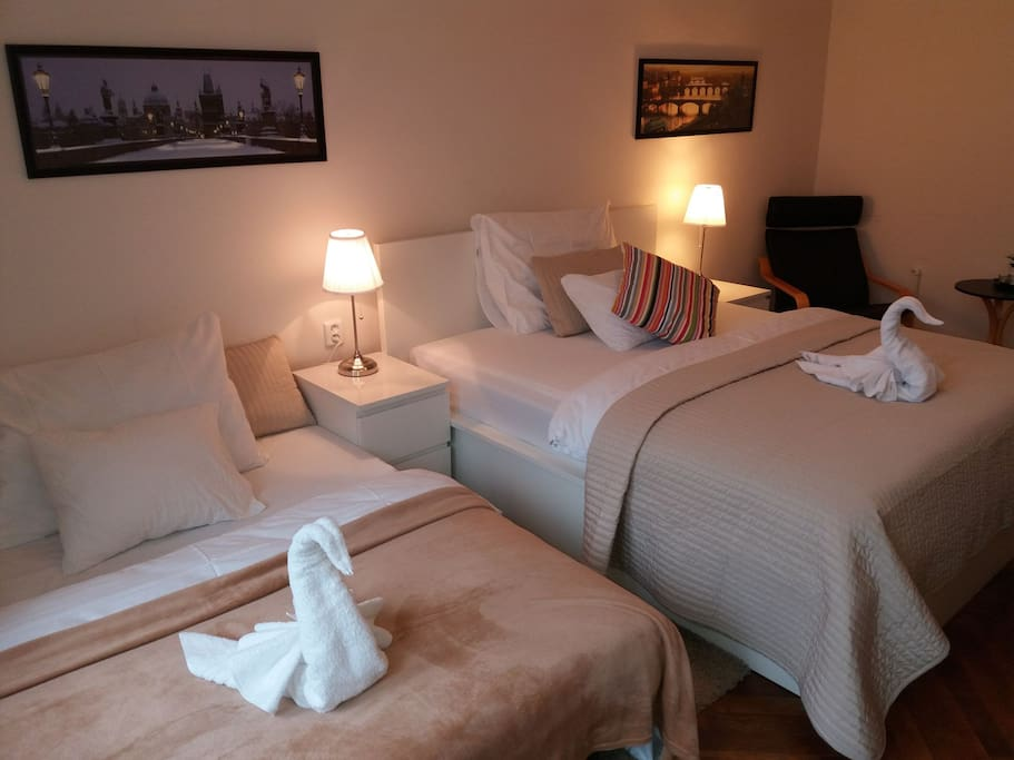 Accommodation option In the  bedroom there are comfortable king-size double bed, pull-out sofa bed, wardrobe and desk.