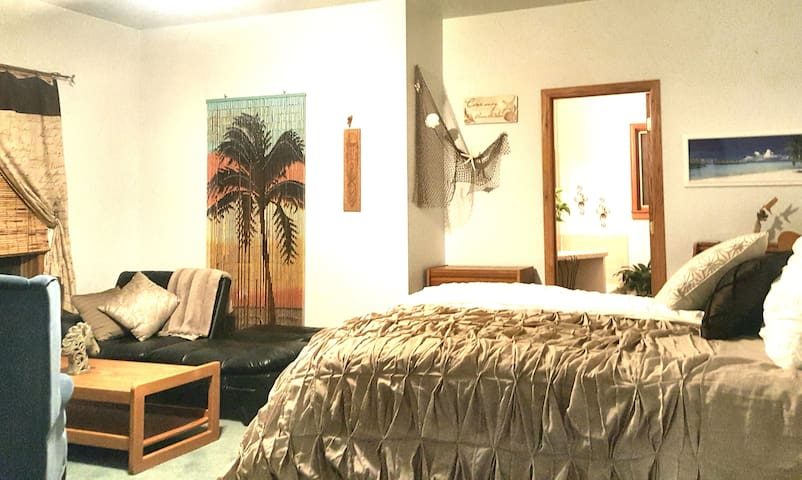 Roomy Retreat private bath, deck , desk seating for 5. Room an entire family with Qn., Sofa/Sleeper & still room for a double air bed & pal n Play. 600 sq.ft.
