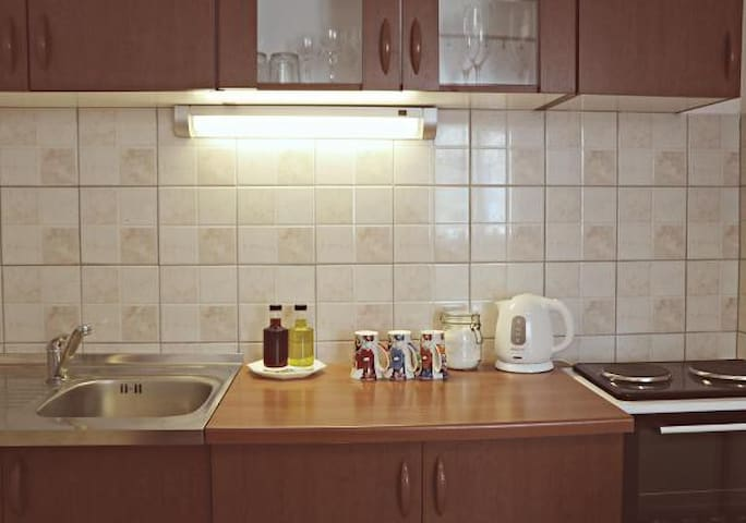 Kitchen and utilities that are available to our guests.