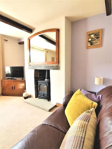The cosy, homely lounge with Esse gas stove