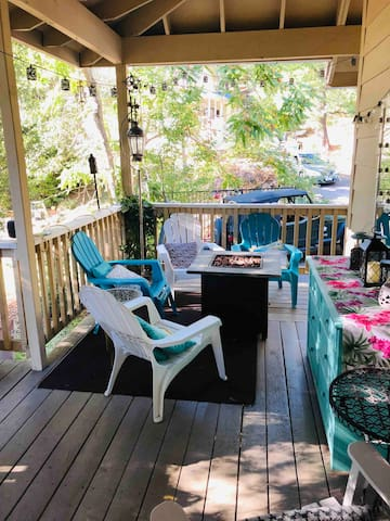 Come out and enjoy a cup of coffee on porch in morning. Read a book in afternoon, and then fire pit at night.