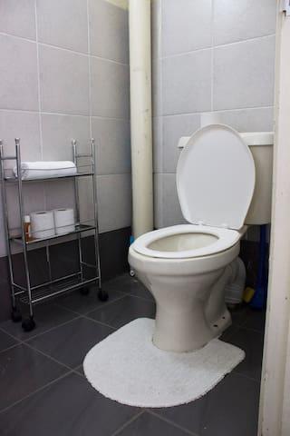 The toilet/bathroom