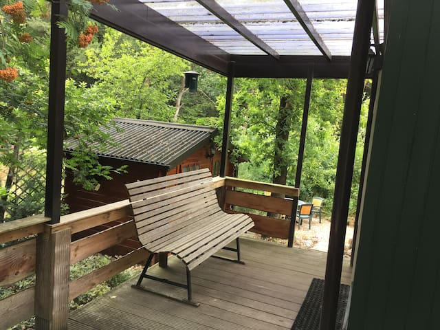 Ook met regenachtig weer is het lekker buiten zitten.