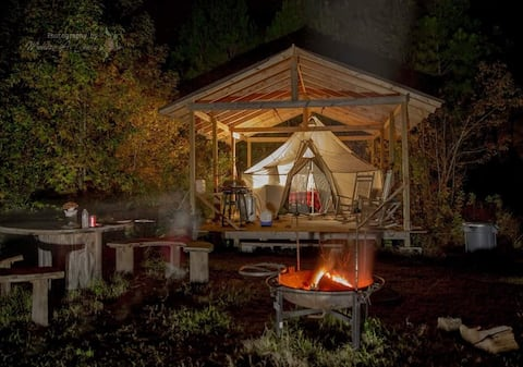 Glamping on an off grid farm.