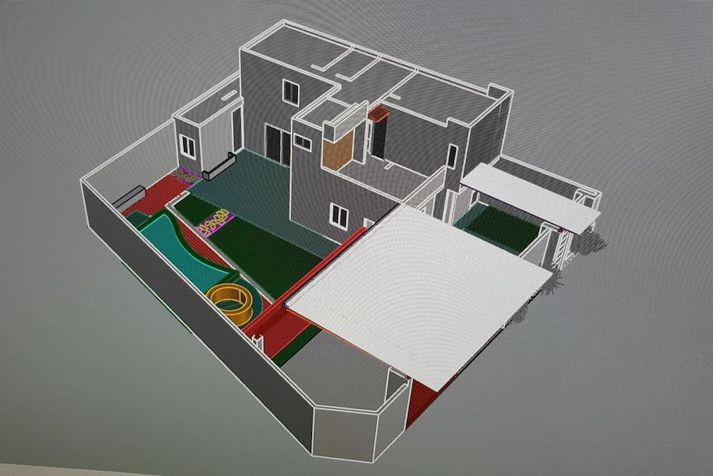 El diseño de la casa ha sido pensado para disfrutrar diferentes espacios con sus amenidades