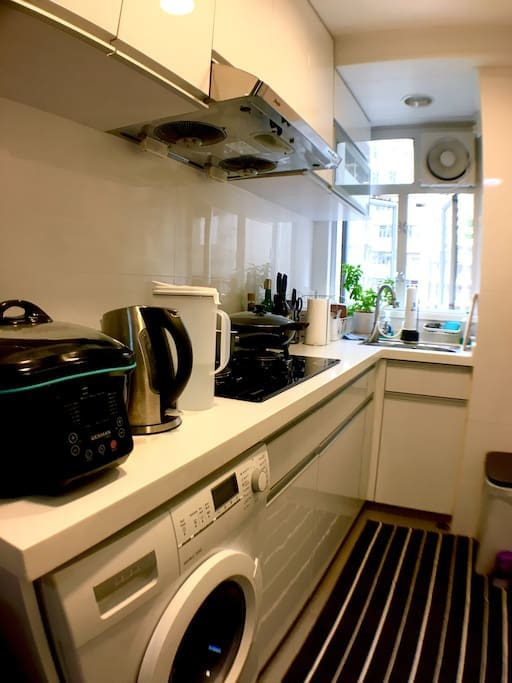 Clean, fully equipped kitchen with appliances and kitchenware. Siemens combo dryer/washer.