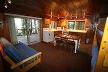 Futon and Bunk Beds in Common Living Area.
