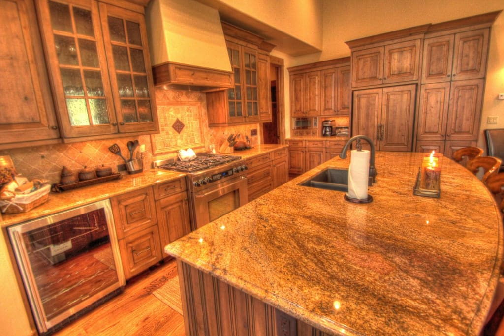 Kitchen - Granite counters and stainless steel appliances in the gourmet kitchen.