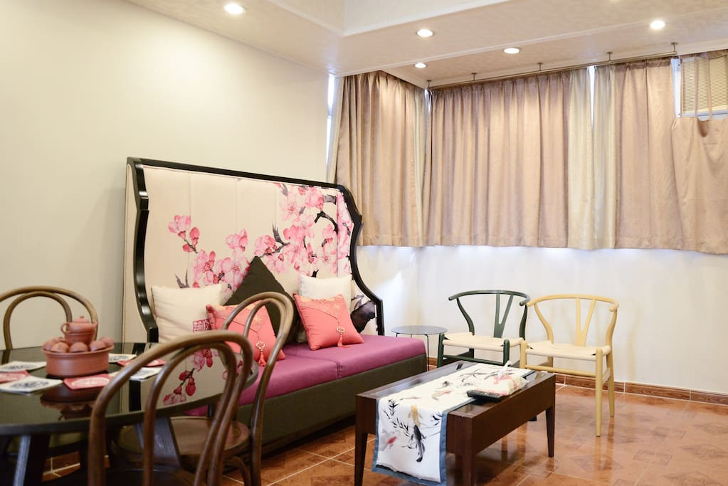 Living Room with Complementary Chinese style sofa