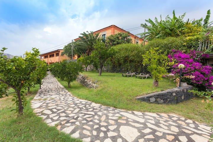 casaleRomano nearby Taormina sea and  Aetna
